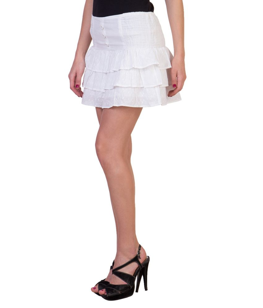 White Cotton Mini Skirt