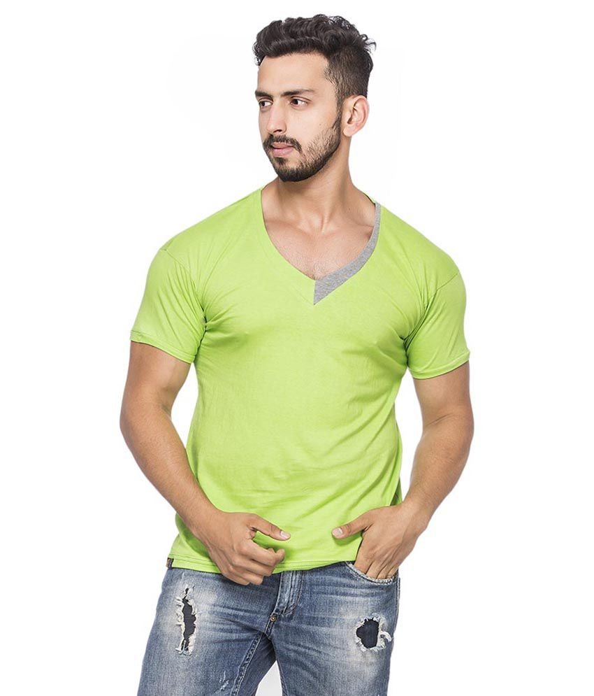 Demokrazy Green Cotton Blend T - Shirt
