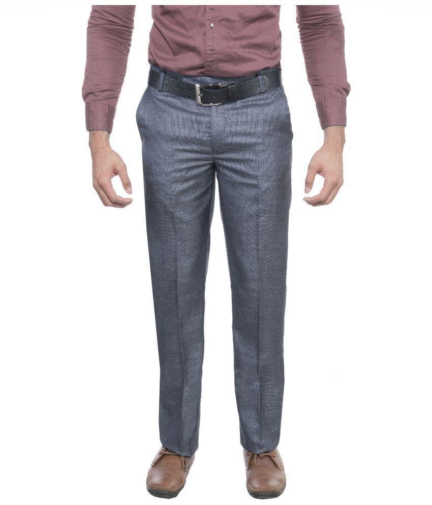 Aragon Blue Regular Fit Flat Formal Trousers