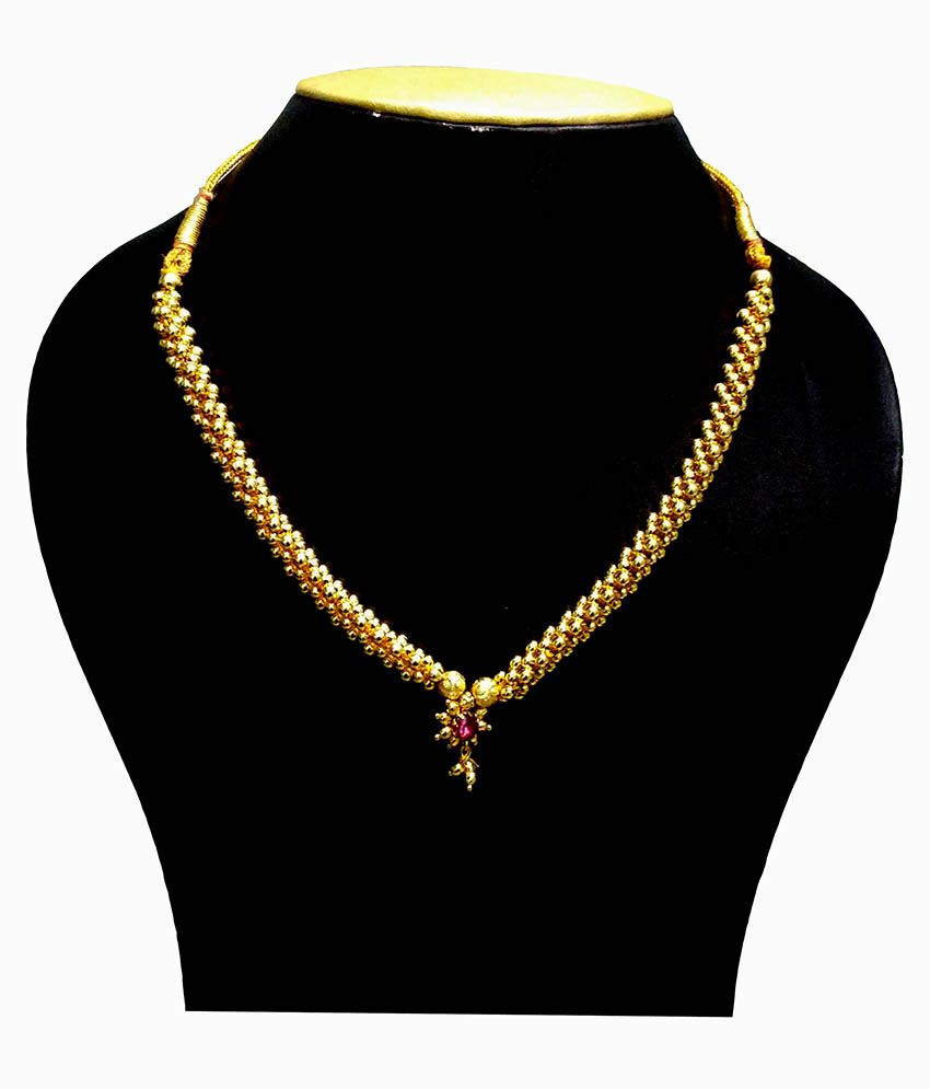 Azi Golden Beads Maharashtrian Thushi Necklace