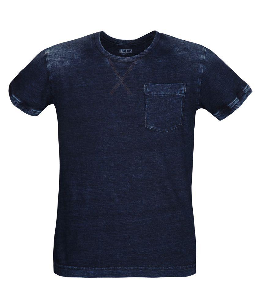 Gini & Jony Navy Solid T-Shirt