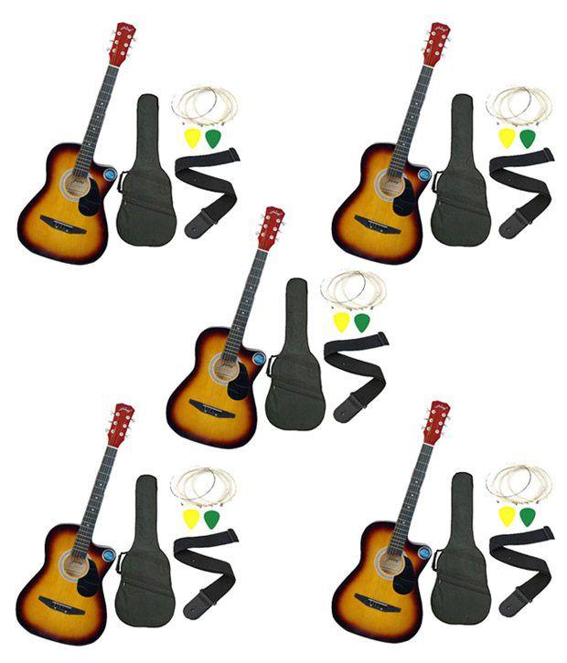 Jixing Sunburst Acoustic Guitar with Bag, Strings, Pick & Strap - Set of 5