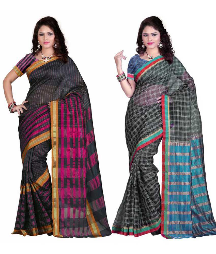 EthnicAndStyle Designer Sarees Multicolour Cotton Silk Pack of 2