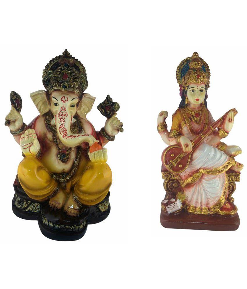 Galaxy World Combo of Textured Marble Lord Ganesha and Saraswati Idol