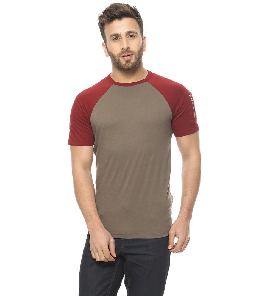 Gritstones Grey & Red Round Neck T-Shirt