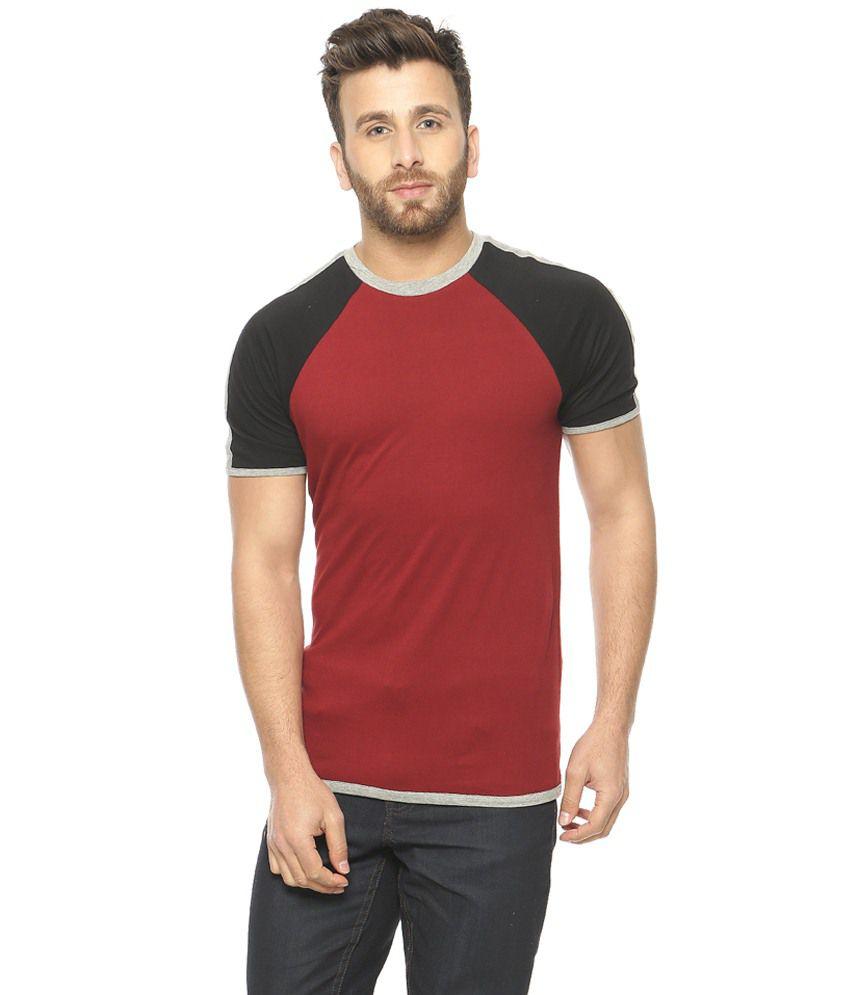 Gritstones Maroon & Black Round Neck T-Shirt