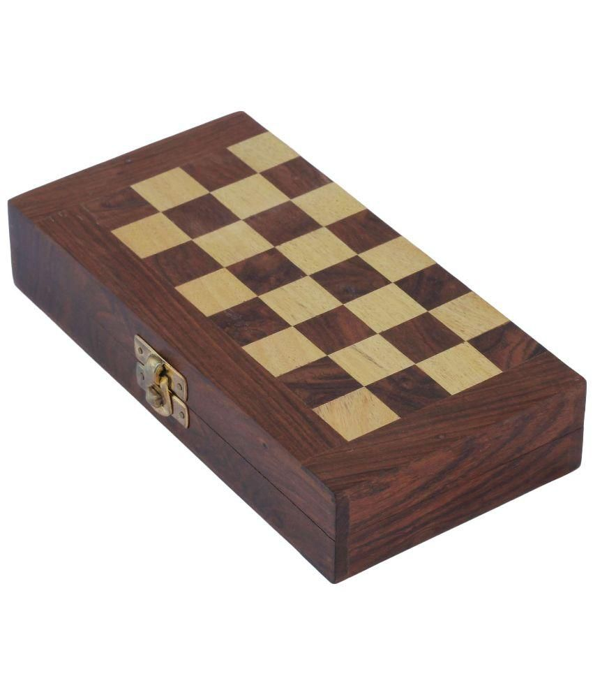 Craft Art India Wooden Folding Non- Magnetic Chess with Storage Of  Pieces Set 8 x 8 inches