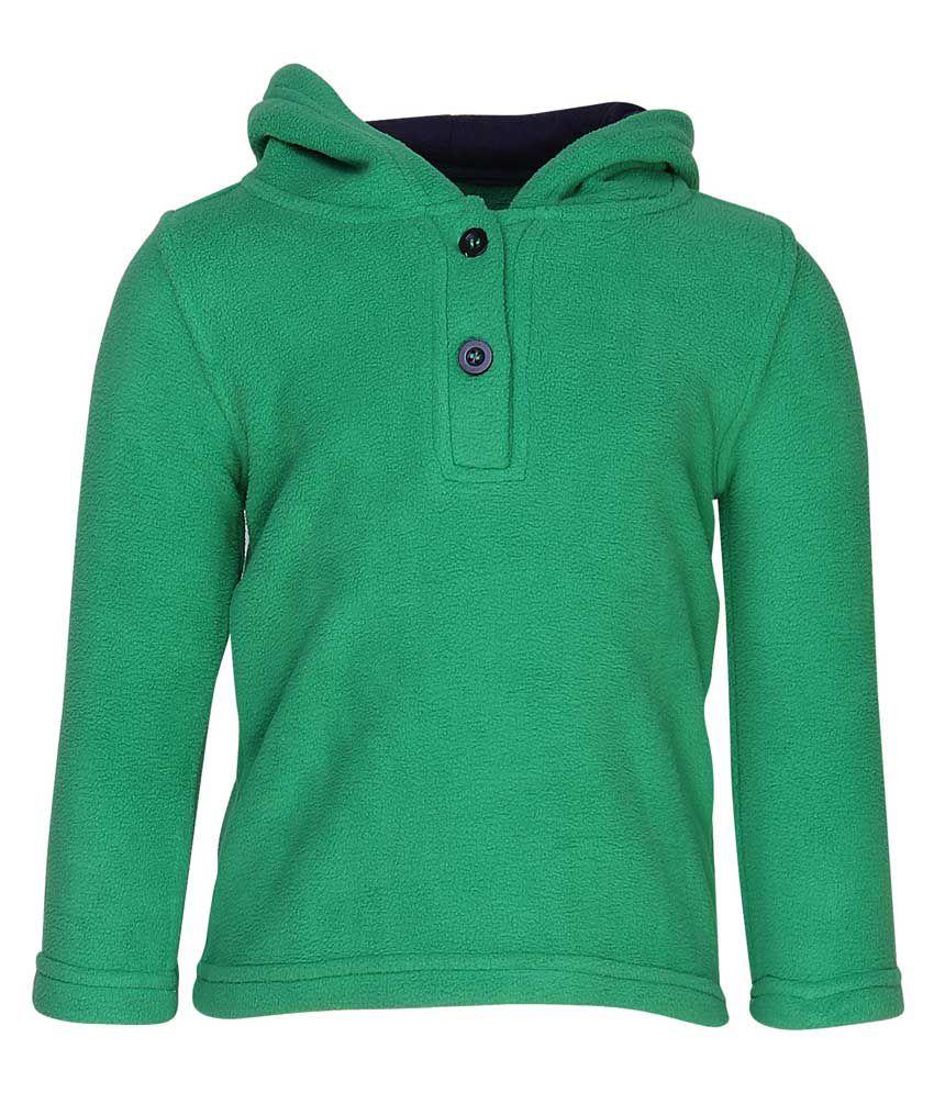 Nino Bambino Green Polyester Buttoned Sweatshirt