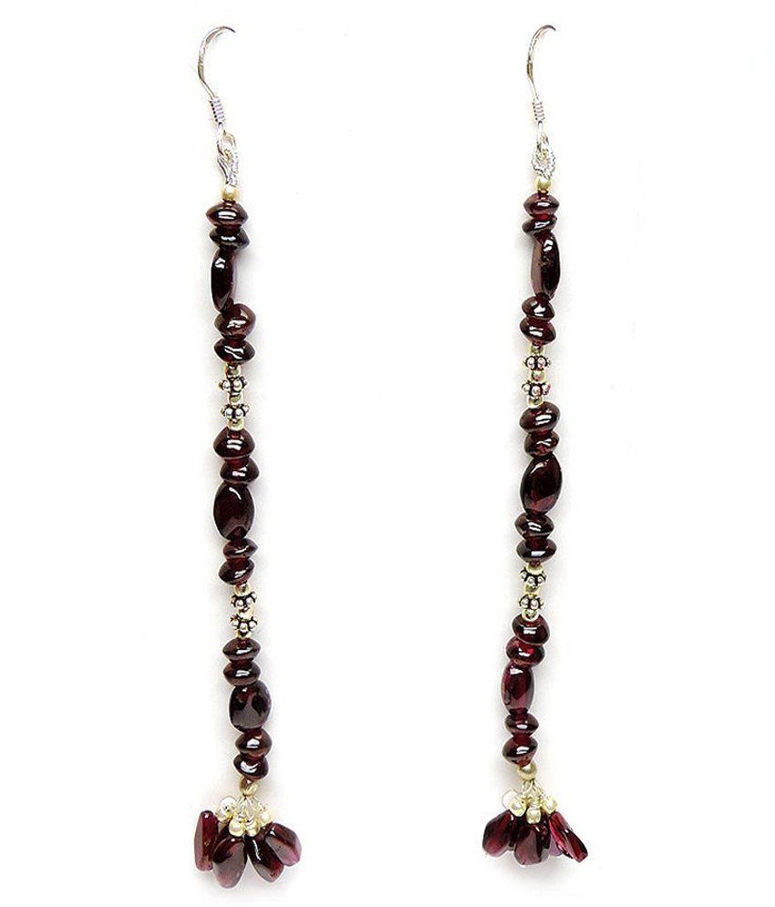 Allnonly 92.5 Silver Garnet Hanging Earrings