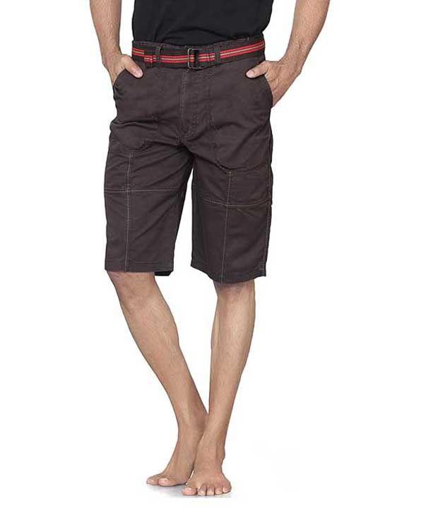 L&c Brown Cotton Solids Shorts