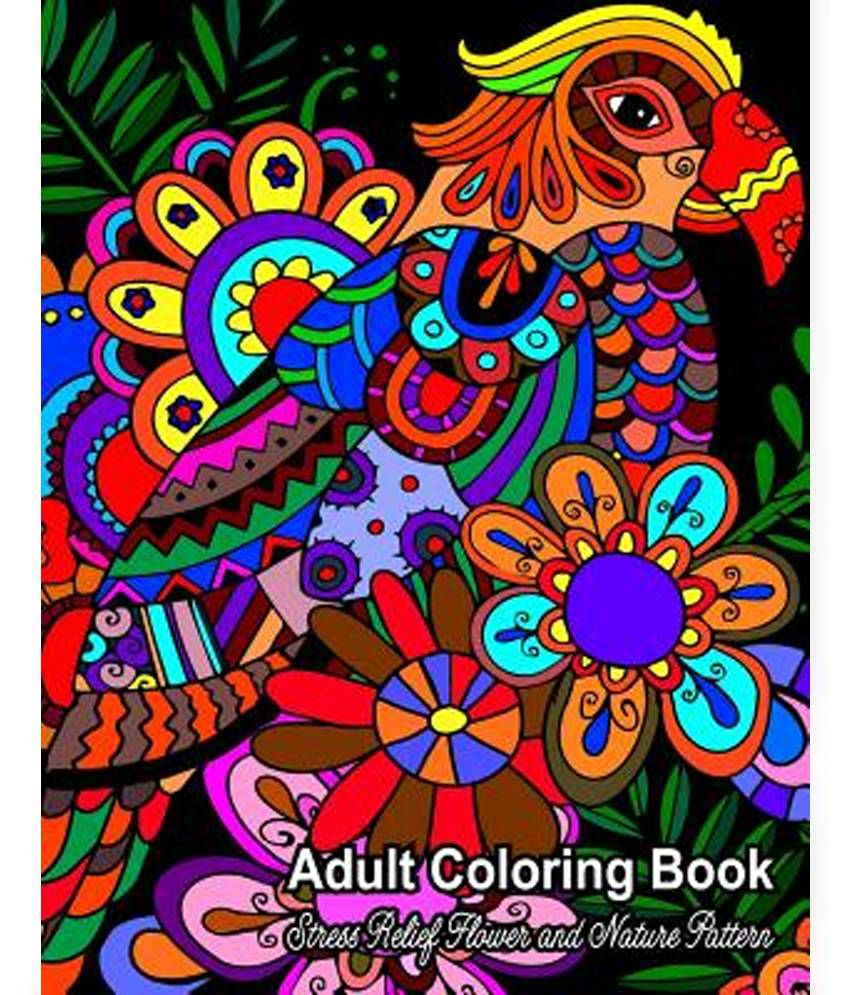 Adult Coloring Book Stress Relief Flower And Nature Pattern