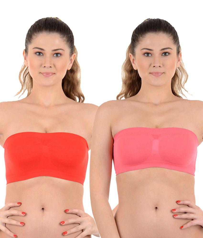 Kat Wears Orange and Pink Cotton Bra