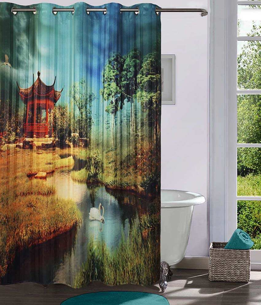 Lushomes Digitally Printed Nature Shower Curtain