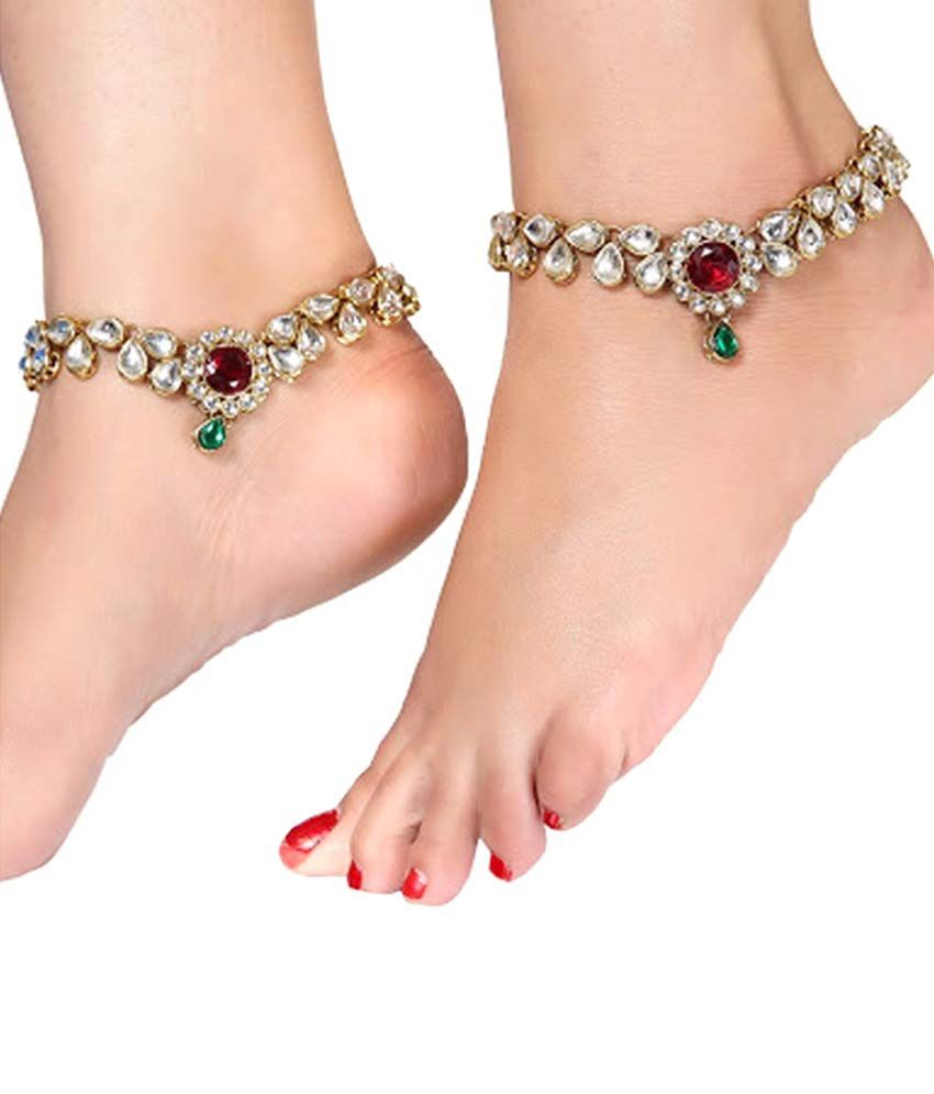 Sewad Multicolour Alloy Pair Of Anklets