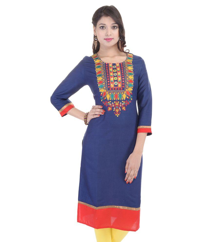 Mangalam Home N Fashion Navy Straight Poly Rayon Kurti