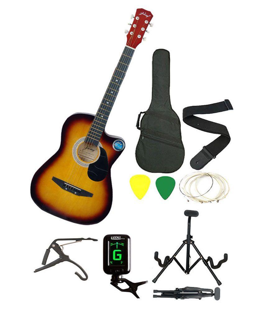 Jixing Combo Of Red Sunburst Acoustic Guitar, Bag, Strap, Strings, Picks, Tuner, Capo & Foldable Guitar Stand