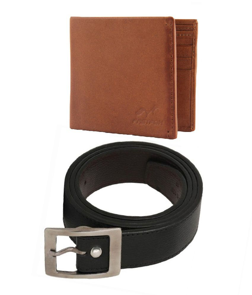Fast Fox Combo of Black Leather Single Casual Belt with Wallet for Men