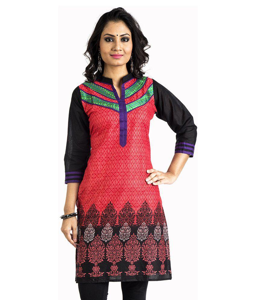 Soumitra Red A - Line Cotton Kurti