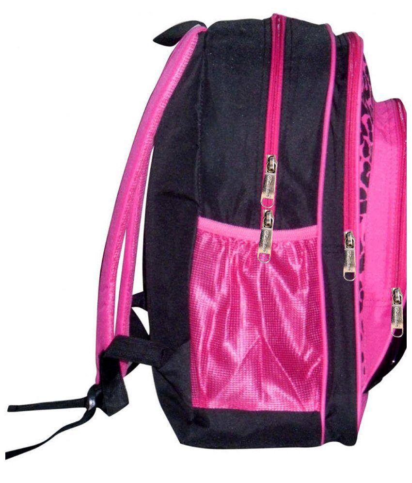 School bag for girl -  Karbonn Polyester School Bag For Girl Pink Black With Bag Water Bottle