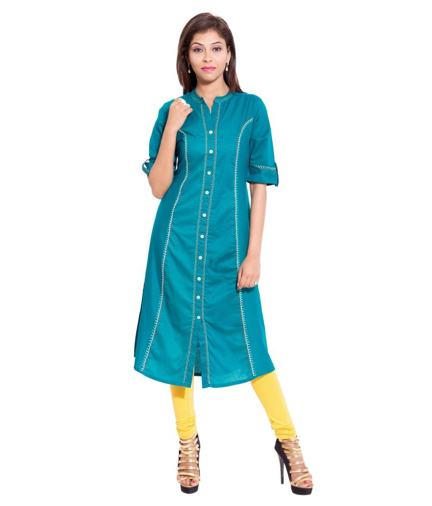 Forever 9teen Blue Straight Cotton Kurti