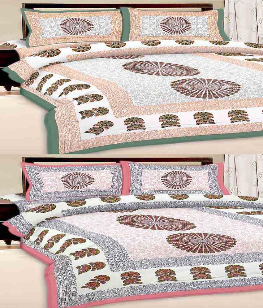 Uniqchoice Multicolour Cotton Kingsize Bedsheet With 2 Pillow Covers Pack Of 2