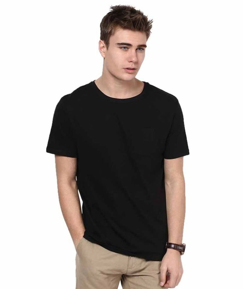 Fashiopetra Black Round T Shirts Yes