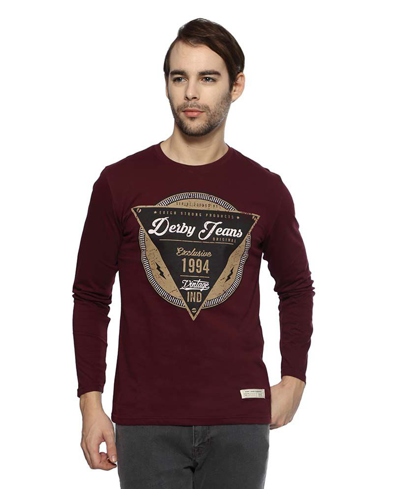 Derby Jeans Community Maroon Round T Shirts Single