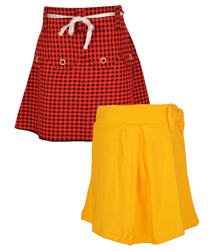 Gkidz Multicolour Cotton Skirt - Pack Of 2