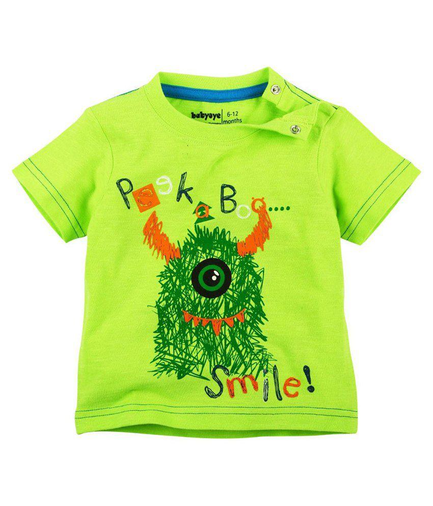 Babyoye Green Cotton T-Shirt for Boys