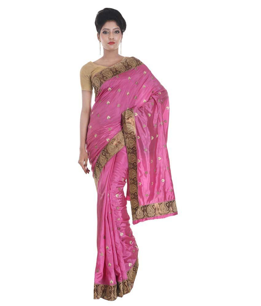 SSPK Pink Raw Silk Saree