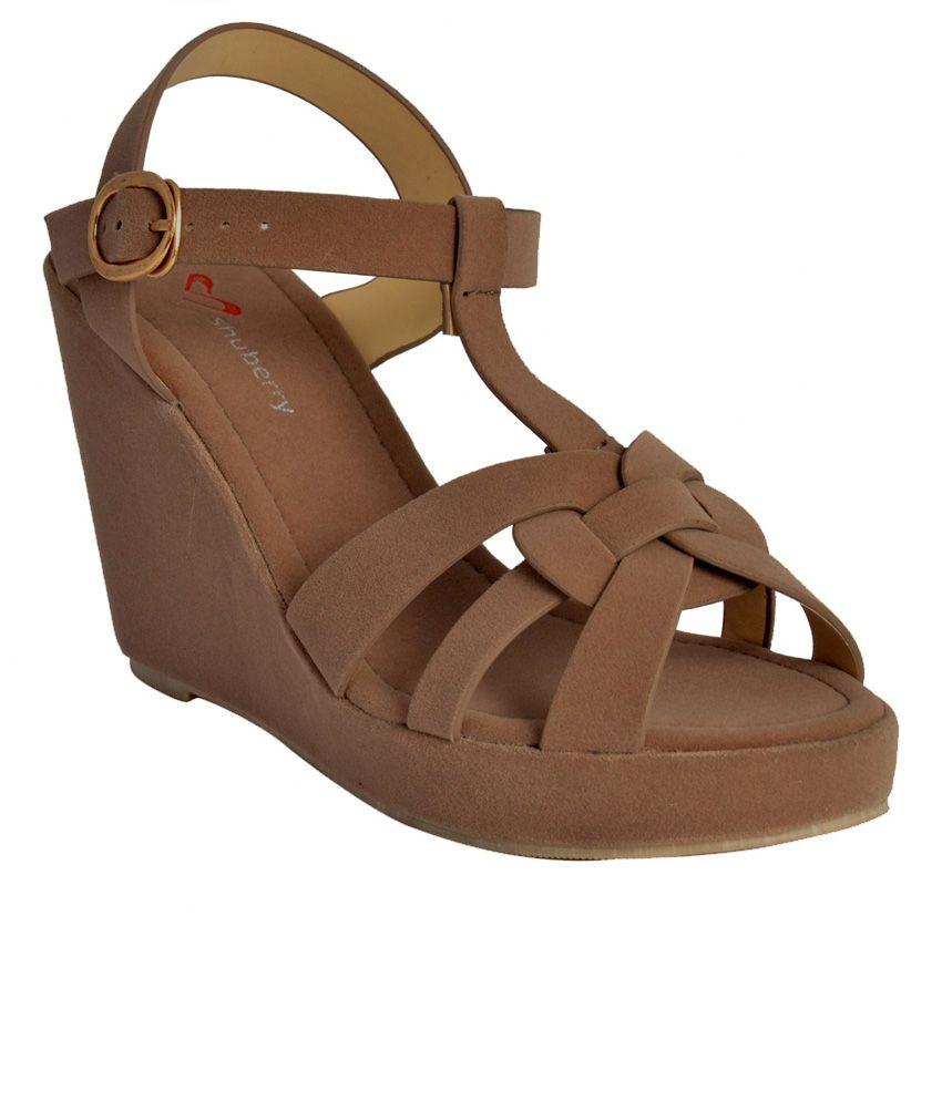 Shuberry Khaki Wedges Heels