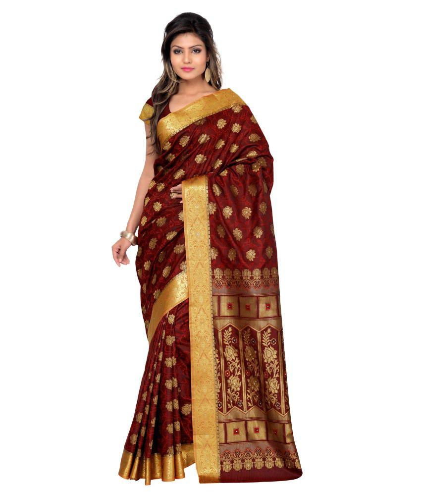 Venisa Red Art Silk Saree