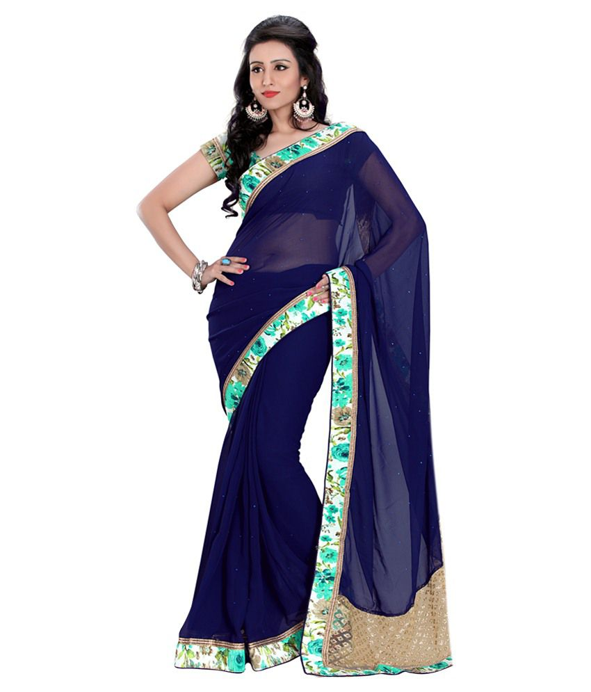Jiya Navy Faux Georgette Saree