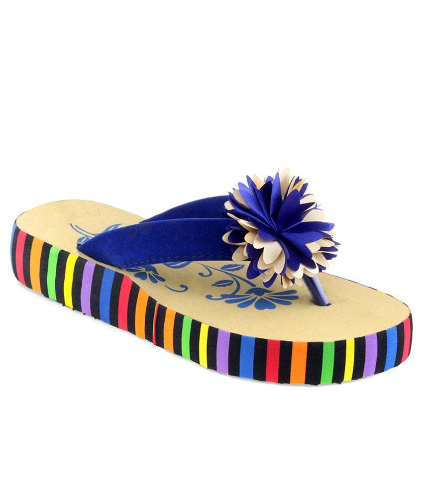 Shoe Lab Blue Slippers & Flip Flops