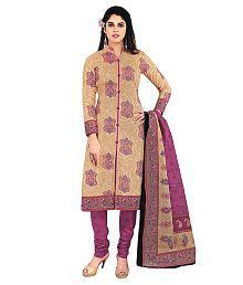 Shree Ganesh Beige & Purple Cotton Unstitched Dress Material