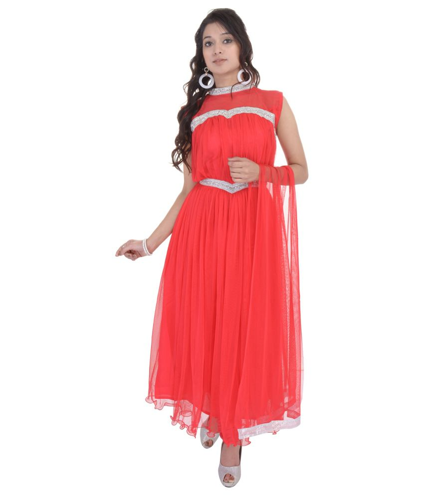 Aawari Red Net Stitched Suit