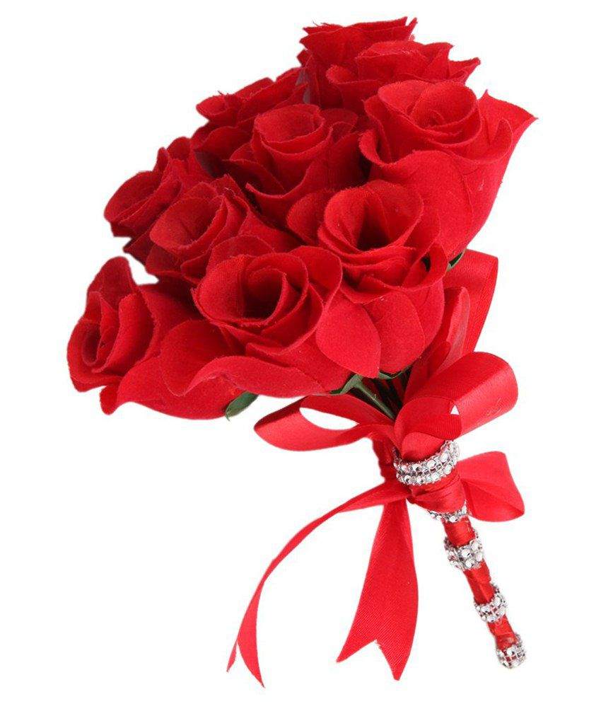 Sanjog Artificial Red Flower Bouquet For Gift & Home Decoration: Buy ...
