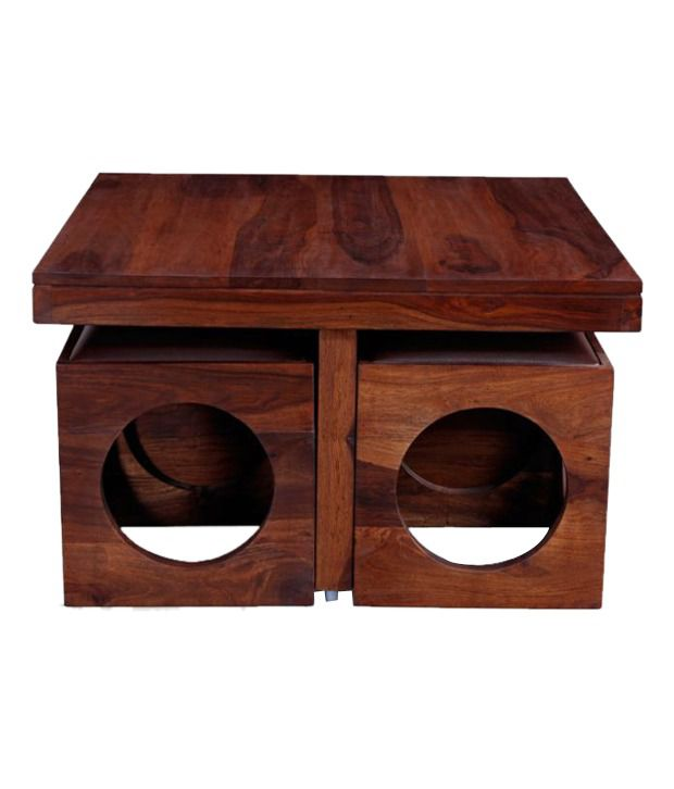 Solid Wood Coffee Table Online India: Ethnic India Art Solid Wood Coffee Table With 4 Stools