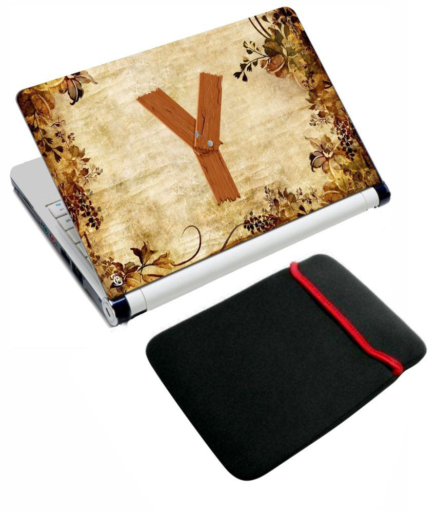Print Shapes Print Shapes Alphabet Y Laptop Skin With Reversible Laptop Sleeve