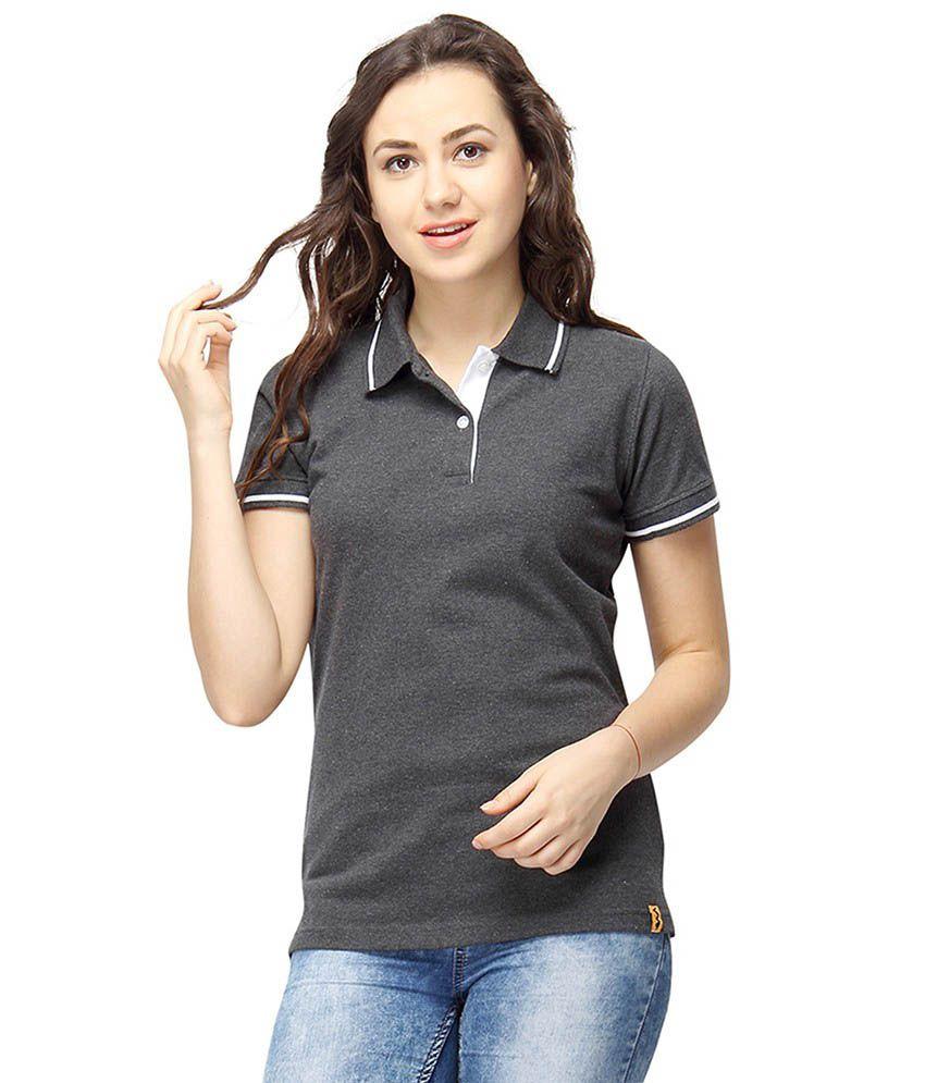 Campus Sutra Gray Cotton Polos