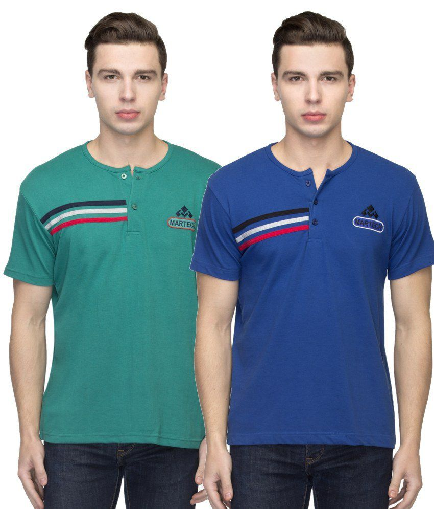 Martech Green Henley T Shirts