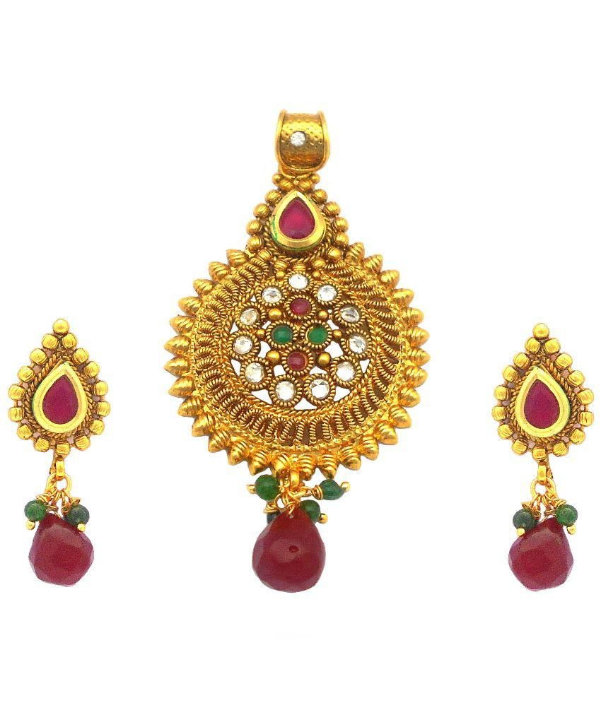 Rejewel Golden and Red Pendant with Earrings
