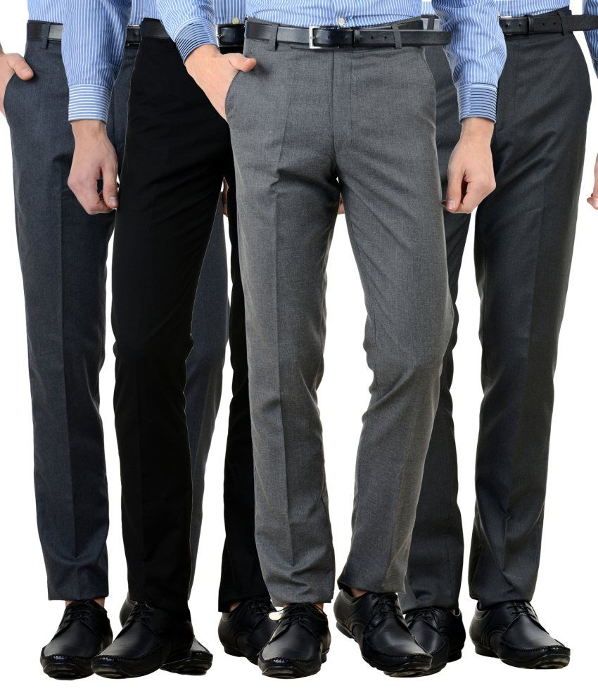 American-Elm Multi Slim Fit Flat Trousers Pack of 4