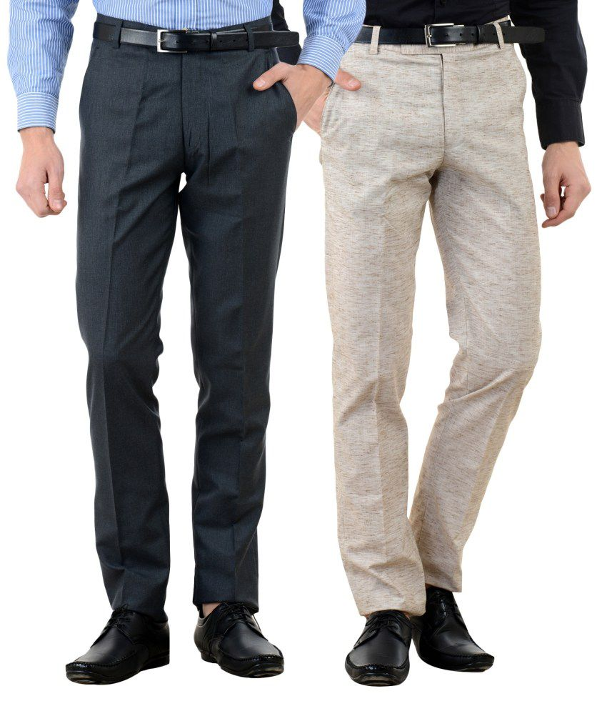 American-Elm Multi Slim Fit Flat Trousers Pack of 2