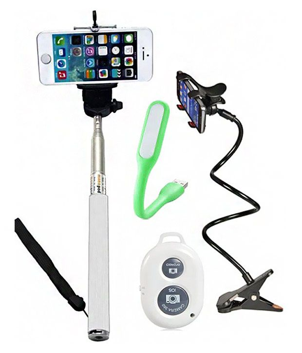 Iceberg Makers.In Iceberg Makers.In Mobile Holder, Selfie stick with Bluetooth and USB LED Light