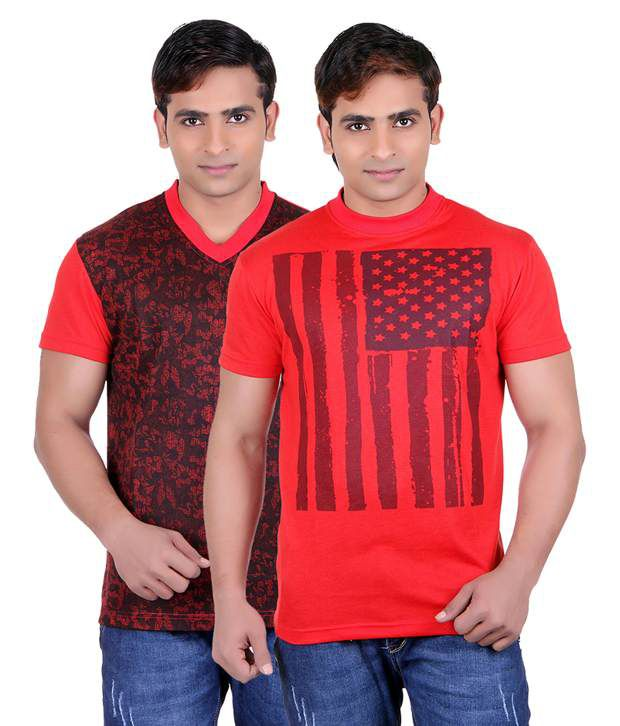 Runn93 Red Round T Shirts Pack of 2