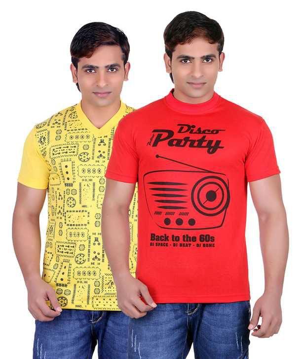 Runn93 Yellow Round T Shirts Pack of 2