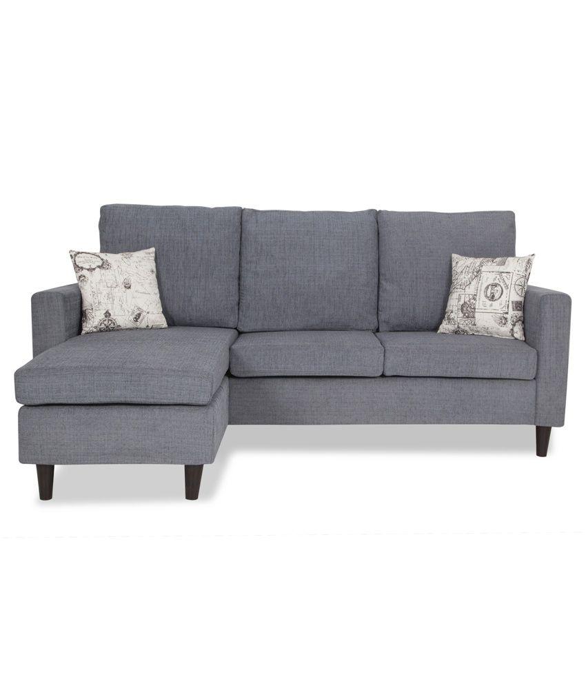 Urban Living Hambolt Fabric 3 Seater L Shaped Sofas   Grey ...