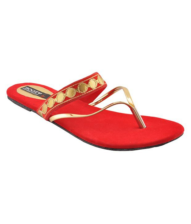 Bootwale Red Flat Slip-on & Sandal