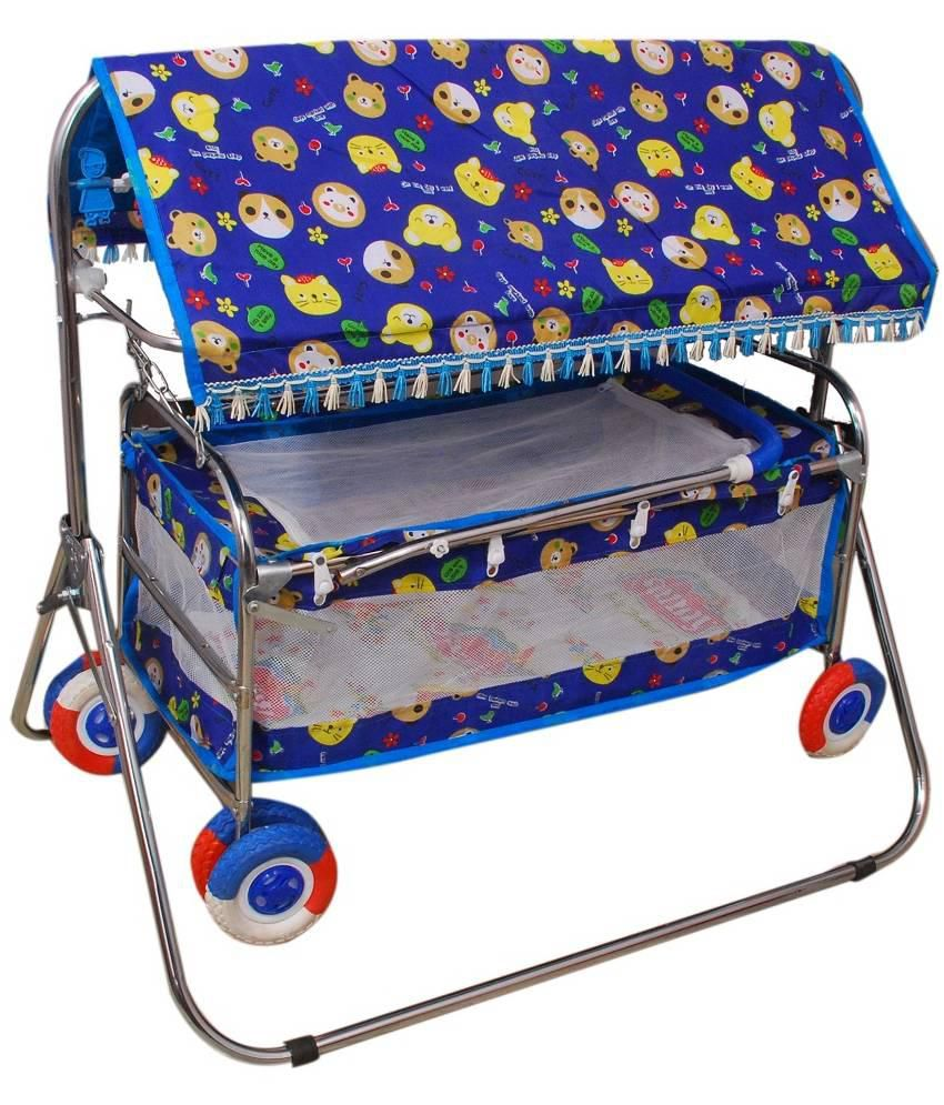 Brats N Angels Blue Baby Cradle Cum Cot Cum Stroller